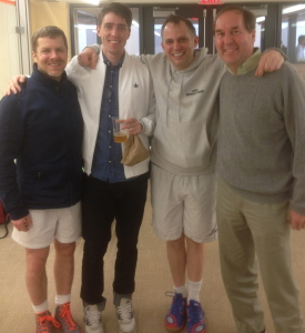 Four generations of Yale #1 players: Will Carlin, '86, Julian Illingworth, '04, John Musto, '91, and Derick Niederman, '76